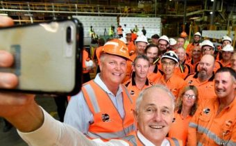 Malcolm Turnbull campaigns in Caboolture, in the Queensland seat of Longman.